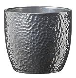 Soendgen Keramik Blumenbertopf, Boston Metallic, silber, 19 x 19 x 18 cm, 0049/0019/1874