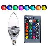 Intelligente Glühbirne mit buntem Licht, E14, 3 W, RGB, LED-Lampen mit Fernbedienung und...