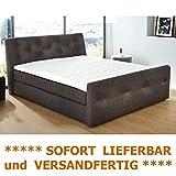 expendio Boxspringbett 180x200 cm Bezug braun Doppelbett Hotelbett Komfortbett Bett...