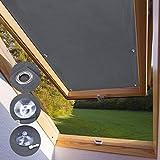 KINLO Dachfensterrollo für Velux Dachfenster 76 x 93cm - P06 Und 406 dunkelgrau Beschichtung...