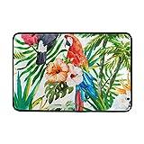 LUPINZ Aquarell Hibiskus und Papageien, Teppich, Fußmatte, Fußmatte, 59,9 x 39,9 cm, rutschfest,...