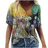 Vintage Drcuken Damen Oberteile Sommer Kurzarm Blusen T-Shirt V-Ausschnitte Loose Oversize Shirt...