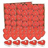 Kerzensets 100 Liebe Herz ,Teelichter Rot Rauchfreie, Herzform Romantische Kerzens,Kerzen Deko Für...