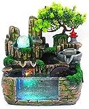 XIAOWANG Zimmerbrunnen Wasserfall aus Polyresin, IN-&Outdoor Beleuchteter Wasserbrunnen mit LED Lich...