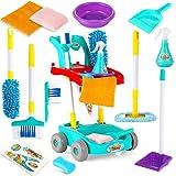 ZaxiDeel Reinigungswagen Haushaltsspielzeug für Kinder, Jungen Mädchen Rollenspiel Putzwagen mit...