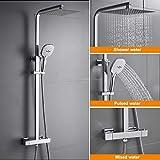 WOOHSE Duschsystem mit Thermostat Regendusche Duschset Edelstahl Duschsule mit Kopfbrause, 3...