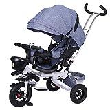 Tricycle 4 In 1 Kinder Dreirad, Faltbares Baby Push Rike mit Um 360 ° Drehbarem Sitz und...