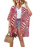 ECOMBOS Damen Florale Kimono Cardigan - Chiffon Kimonos Tops Lose Cardigan Bluse Shawl Sommer Strand...