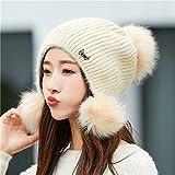 Thikgl Hut Weibliche Winter Wilde Haare Ball Wolle Hut Gehörschutz Warme Strickmütze