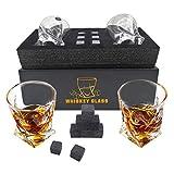 Whiskey-Steine Geschenkset – 2 Whiskeygläser und 8 Granit-Whiskey-Steine für Whisky-Liebhaber,...