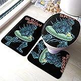 Godzilla Schwimmring Badematte 3-teiliges Set Badteppich Set Weiche Anti-Rutsch-Pads Badematte +...