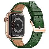 Poiuy Ersatz-Armband aus echtem Leder, kompatibel mit Apple Watch, 38 mm, 40 mm, 42 mm, 44 mm,...