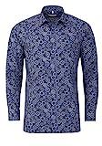 Marvelis Modern Fit Hemd Langarm Haifischkragen Muster dunkelblau Größe 40