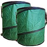 2x Gartenabfalltonne Pop Up faltbarer Gartensack 160 Liter Laubsack aus stabilen Oxford Nylon bis 50...