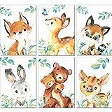 LALELU-Prints | A4 Bilder Kinderzimmer Deko Mädchen Junge | Zauberhafte Wald-Tiere | Poster...