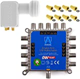MULTISCHALTER Set Anadol Zero Watt inklusive Quad LNB - Stromloser Multiswitch für Satellit mit LNB...