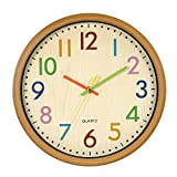 LENRUS Kinderwanduhr, 12.5 Zoll/32 cm Kinder Wanduhr mit lautlosem Uhrenwerk und farbenfrohen...