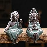 HYBUKDP Statuen Skulpturen Chinesische Statue Meditating Seated Buddha-Statue-Figürchen Lila Sand...