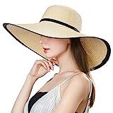 SIGGI klappbarer Sonnenhut beiger Strohhut mit Sonnen Shade Damen breite Krempe