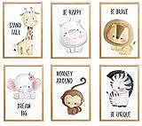WIETRE® 6er Set Bilder Tiere Kinderzimmer Babyzimmer Deko | Bild Junge Mädchen Poster DIN A4 |...