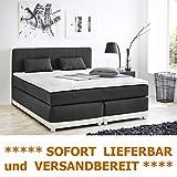 expendio Boxspringbett 180x200 cm grau weiß mit Topper und Kissen Doppelbett Hotelbett Komfortbett...