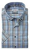Marvelis Comfort Fit Kurzarm-Hemd   blau weiß braun kariert   Reine Baumwolle  Button-Down  ...