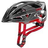 Uvex Unisex– Erwachsene, active Fahrradhelm, anthracite-red, 56-60 cm