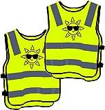 2 Warnweste Kinder Sicherheitsweste Gelb Stark Sichtbar - Atmungsaktiv - Universal Größe Schutz...