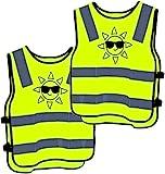 2 Warnweste Kinder Sicherheitsweste Gelb Stark Sichtbar - Atmungsaktiv - Universal Gre Schutz fr...