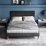 VSTAR66 Polsterbett, Doppelbett mit Bettkasten&Lattenrost, 140x200cm gepolsteres Bettgestell mit...