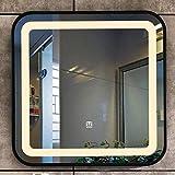 SHU XIN Nordic Iron Art LED Lichtspiegel Waschbecken Quadratischer Wandspiegel Badezimmer...
