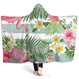 YOUKUHA Tropical Flamingo Kids & Adults Bettdecke Soft Printed Hooded Blanket Throw Wearable