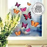 Fensterbilder Fensterbild Schmetterlinge pink orange lila wiederverwendbar Frhling Frhlingsdeko...