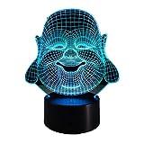 KangYD 3D Nachtlicht Maitreya, LED Buddha Lampe, Home Decor, Visuelle Lampe, Acryl, Bunte...