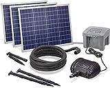 Solar Bachlaufset Professional mit 12V/24Ah Akkuspeicher und 3 x 50W Solarmodul - 3.500 l/h...