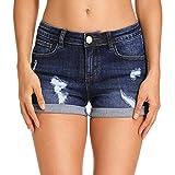 Hocaies Damen Jeansshorts Basic in Aged-Waschung Jeans Bermuda-Shorts Kurze Hosen aus Denim für den...