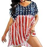 Erfula Frauen Bikini Cover Ups, Strand Badeanzug Cover Up, US-Flagge Chiffon Quaste Strand...