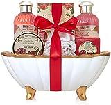 BRUBAKER Cosmetics Bade-Geschenkset Pfingstrose & Vanille mit Keramikwanne in Muschelform 7-teilig