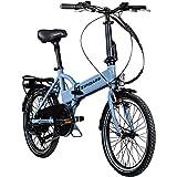 Zündapp Faltrad E-Bike 20 Zoll Z101 Klapprad Pedelec StVZO Elektrofaltrad 6 Gang (Sky blau)