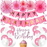 BeParty Geburtstagsdeko Happy Birthday Girlande + Ballons + Banner + Flag + String | Alles Gute zum...