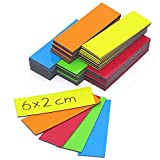 75 farbige Magnet-Etiketten I 6 x 2 cm I je 15 Streifen pro Farbe I beschreibbar für Whiteboards...