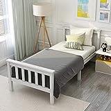 Joycelzen Einzelbett,3ft Weiß Holzbett mit Solide Holz Kiefer Kopfteil und Bettrahmen zum...