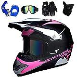 PKFG® Motocross Helm Kinder Pink, Offroad Motorradhelm mit Visier Brille Handschuhe Maske und...