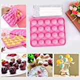 Silikon Cake Pop Backform 20 Runde Cake Pop Maker Stiel BPA-Frei Lollipop Silikon Form Ice Cube für...