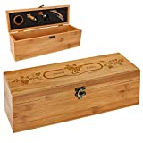 polar-effekt Personalisierte Holzbox mit Gravur - 5-teiliges Sommelier Set - Bambus Geschenkbox für...