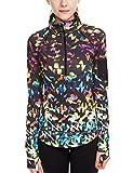 icyzone Damen Sport T-Shirt Langarm Laufshirt - 1/2 Reißverschluss Fitness Sweatshirt Laufjacke...