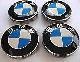 4x Nabenkappen / Nabendeckel mit BMW-Logo 68mm blau weiß Verzierung für Felgen aus Legierung