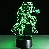 giyiohok 3D Illusion Nachtlicht Iron Man Action 7 Color Touch Fernbedienung LED Schreibtischlampe...