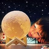 ACED 18cm LED 3D druck Mond Lampe mit Fernbedienung 16 Farben Farbige Dekoleuchte tragbares Kinder...