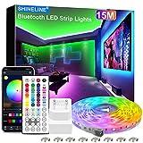15M LED Strip, SHINELINE 1 Rolle Bluetooth App und Fernbedienung RGB LED Streifen, Musik Sync...